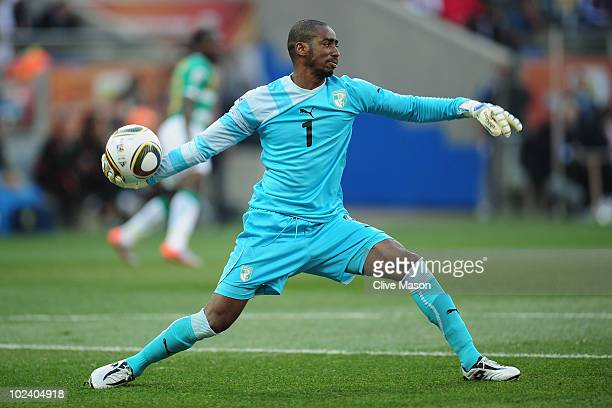 Boubacar Barry of the Ivory Coast throws the ball out during the 2010 FIFA World Cup South Africa Group G match between North Korea and Ivory Coast...