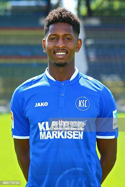 Boubacar Barry poses during the Karlsruher SC team presentation at Wildpark Stadion on July 27 2016 in Karlsruhe Germany