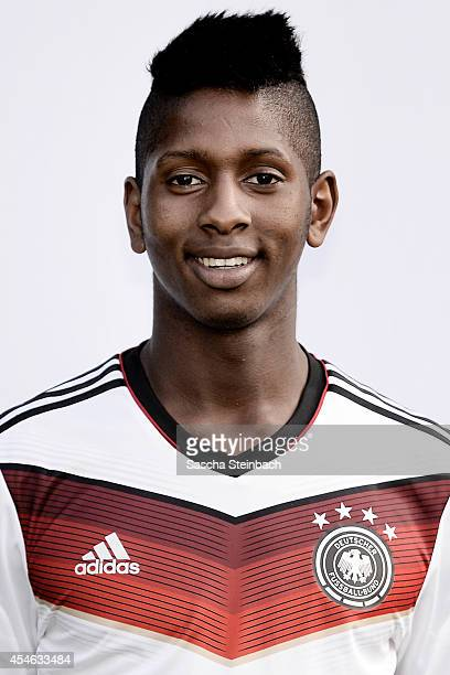 Boubacar Barry poses during the U19 Germany team presentation at Sportpark Hoehenberg on September 4 2014 in Cologne Germany