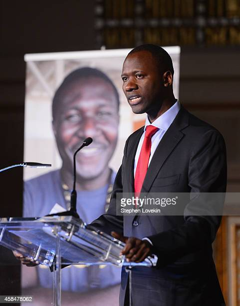 Boubacar Barry speaks onstage at the Annual Freedom Award Benefit Event hosted by International Rescue Committee on November 5 2014 in New York City