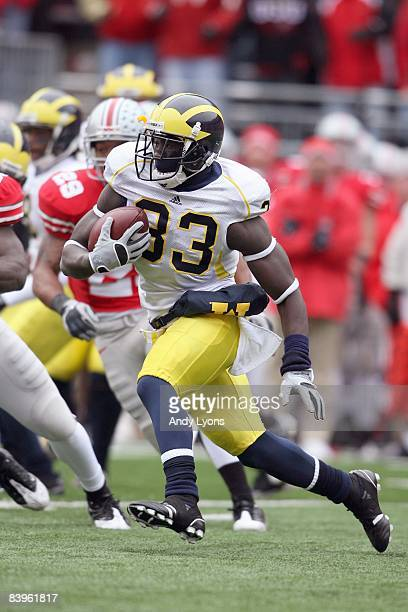 Boubacar Cissoko of the Michigan Wolverines carries the ball during the Big Ten Conference game against the Ohio State Buckeyes at Ohio Stadium on...