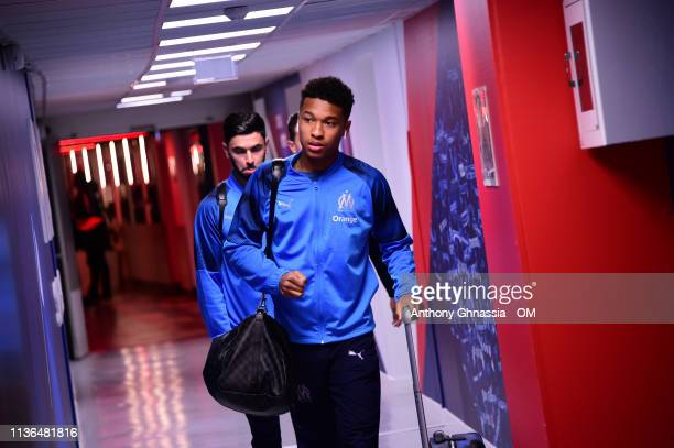 Boubacar Kamara arrive at the Ligue 1 match between Paris Saint Germain and Olympique de Marseille at Parc des Princes on March 17 2019 in Paris...