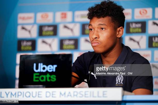 Boubacar Kamara during an Olympique de Marseille press conference at Centre Robert Louis-Dreyfus on September 13, 2019 in Marseille, France.