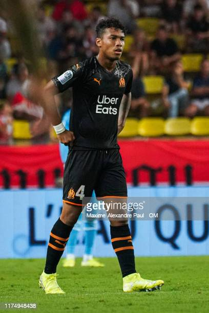 Boubacar Kamara during the Ligue 1 match between AS Monaco and Olympique de Marseille at Stade Louis II on September 15, 2019 in Monaco, Monaco.