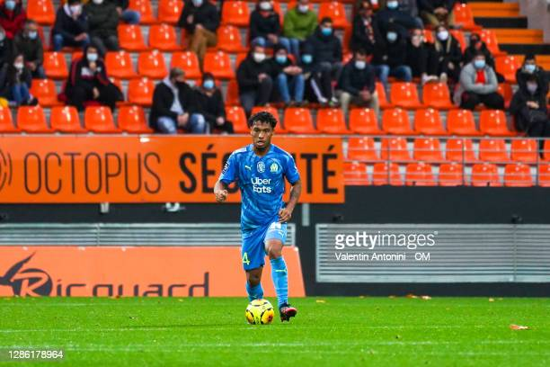Boubacar Kamara during the Ligue 1 match between FC Lorient and Olympique Marseille at Stade du Moustoir on October 24, 2020 in Lorient, France.