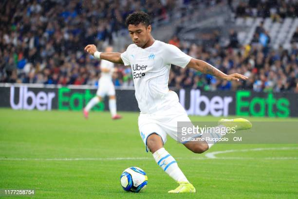 Boubacar Kamara during the Ligue 1 match between Olympique de Marseille and RC Strasbourg at Stade Velodrome on October 20, 2019 in Marseille, France.