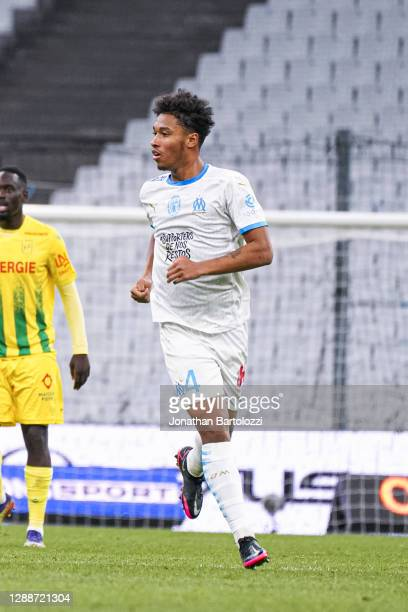 Boubacar Kamara during the Ligue 1 match between Olympique Marseille and FC Nantes at Stade Velodrome on November 28, 2020 in Marseille, France.