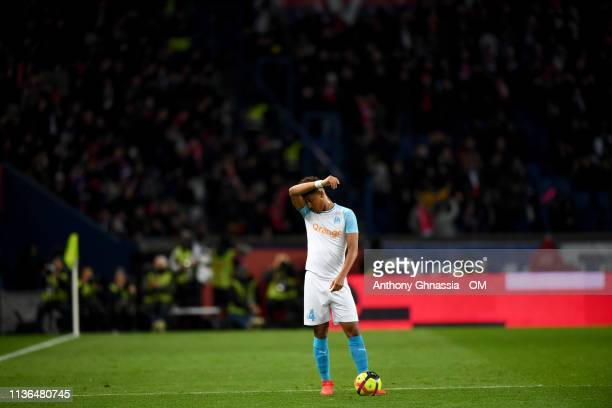 Boubacar Kamara during the Ligue 1 match between Paris Saint Germain and Olympique de Marseille at Parc des Princes on March 17 2019 in Paris France