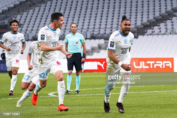Boubacar Kamara, Florian Thauvin, Dimitri Payet during the Ligue 1 match between Olympique Marseille and FC Nantes at Stade Velodrome on November 28,...