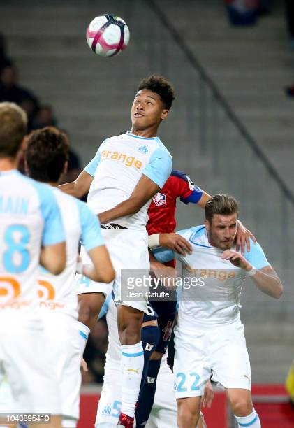 Boubacar Kamara Gregory Sertic of Marseille during the french Ligue 1 match between Lille OSC and Olympique de Marseille at Stade Pierre Mauroy on...