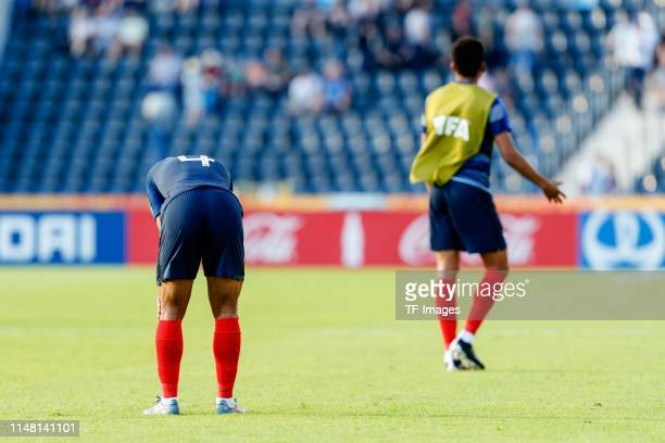 Boubacar Kamara of France look dejected during the 2019 FIFA U20 World Cup Round of 16 match between France and USA at ZdzislawKrzyszkowiakStadion on...