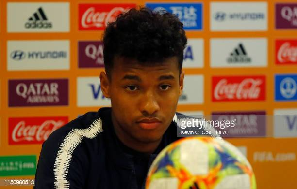 Boubacar Kamara of France speaks to the media during a press conference prior to the 2019 FIFA U-20 World Cup on May 22, 2019 in Gdynia, Poland.