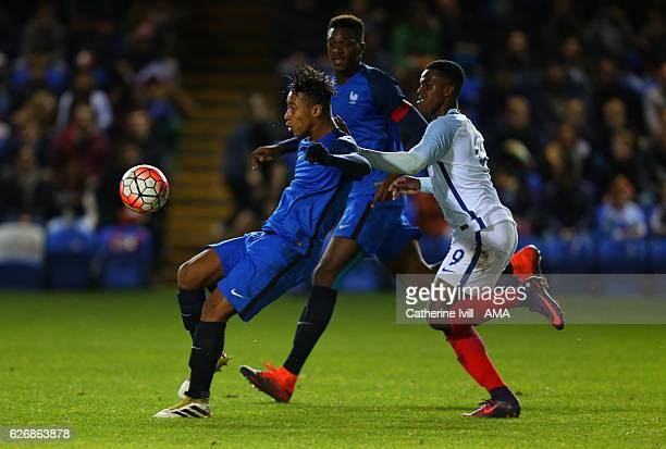 Boubacar Kamara of France U18 and Niall Ennis of England U18 during the U18 International Friendly match between England and France at London Road...
