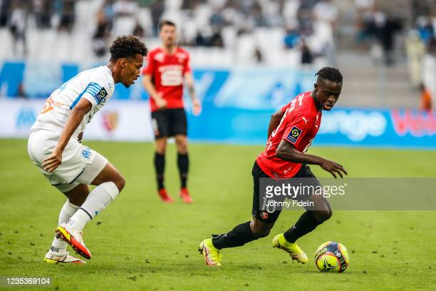 Boubacar KAMARA of Marseille and Kamal SULEMANA of Rennes during the Ligue 1 Uber Eats match between Marseille and Rennes at Orange Velodrome on...