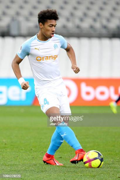 Boubacar Kamara of Marseille during the French Ligue 1 match between Olympique de Marseille and Girondins de Bordeaux at Stade Velodrome on February...