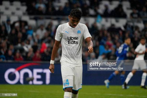 Boubacar Kamara of Marseille during the Ligue 1 match between Olympique de Marseille and RC Strasbourg at Stade Velodrome on October 20, 2019 in...