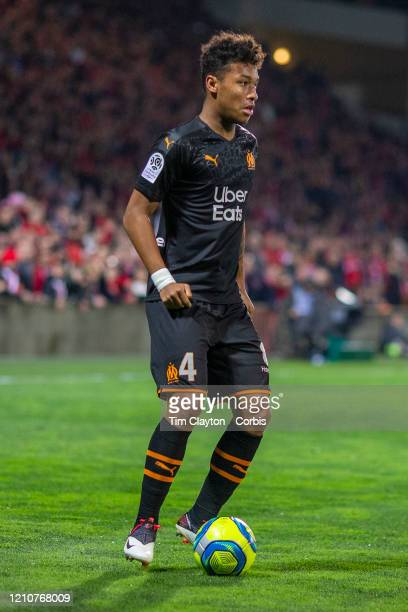 Boubacar Kamara of Marseille in action during the Nimes V Marseille French Ligue 1 regular season match at Stade des Costieres on February 28th 2020...