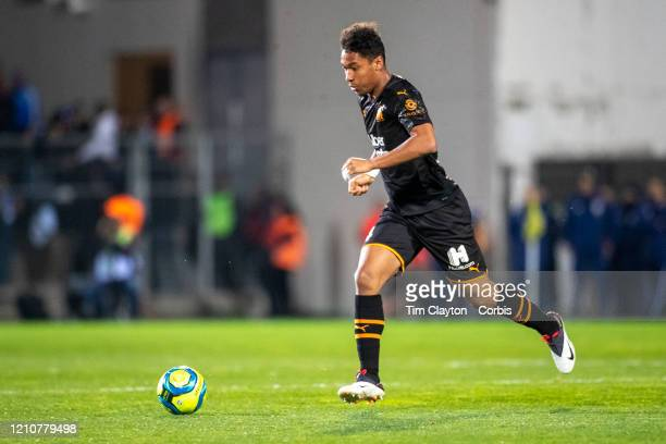 February 28: Boubacar Kamara of Marseille in action during the Nimes V Marseille, French Ligue 1, regular season match at Stade des Costieres on...
