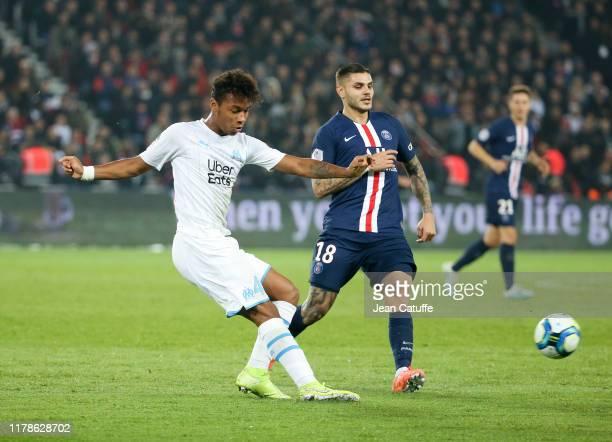 Boubacar Kamara of Marseille. Mauro Icardi of PSG during the Ligue 1 match between Paris Saint-Germain and Olympique de Marseille at Parc des Princes...