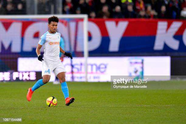 Boubacar Kamara of Olympique de Marseille runs with the ball during the Ligue 1 match between SM Caen and Olympique de Marseille at Stade Michel...