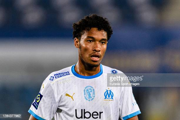 Boubacar Kamara of Olympique de Marseille walks in the field during the Ligue 1 match between RC Strasbourg and Olympique Marseille at Stade de la...