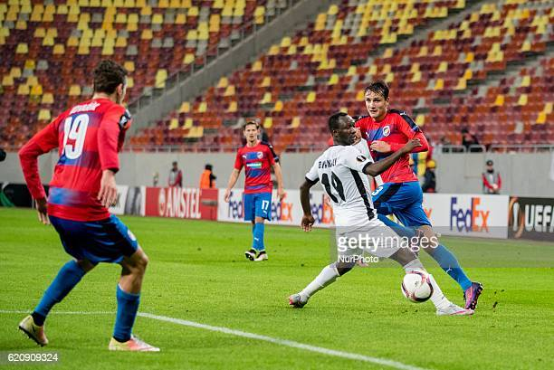 Boubacar Mansaly of FC Astra Giurgiu and Ales Mateju of FC Viktoria Plzen during the UEFA Europa League 20162017 Group E game between FC Astra...