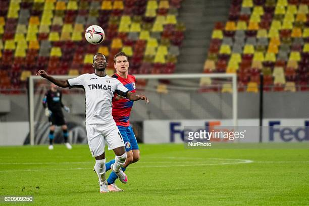 Boubacar Mansaly of FC Astra Giurgiu and Jan Kovarik of FC Viktoria Plzen during the UEFA Europa League 20162017 Group E game between FC Astra...