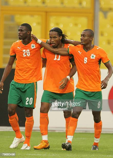 Boubacar Sanogo Didier Drogba and Salomon Kalou celebrate during the AFCON 3rd and 4th playoff match between Ghana and Ivory Coast held at the Baba...