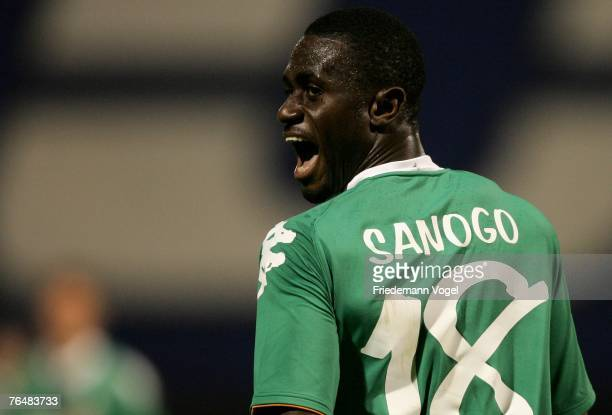 Boubacar Sanogo of Werder yells during the Champions League third qualifying round second leg match between Dinamo Zagreb and Werder Bremen at the...