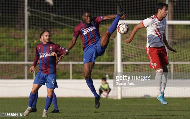 Boubakary Diarra of CD Cova da Piedade in action during the Liga Pro match between CD Cova da Piedade and UD Vilafranquense at Estadio Municipal Jose...