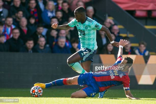 Boubakary Soumare of Leicester and Luka Milivojevic of Crystal Palace battle for the ball during the Premier League match between Crystal Palace and...