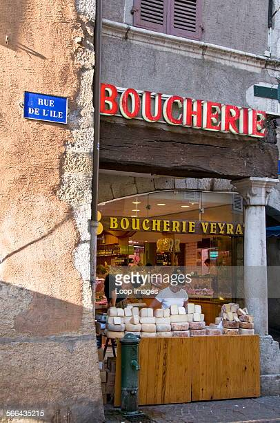 Boucherie and cheese stall in Annecy
