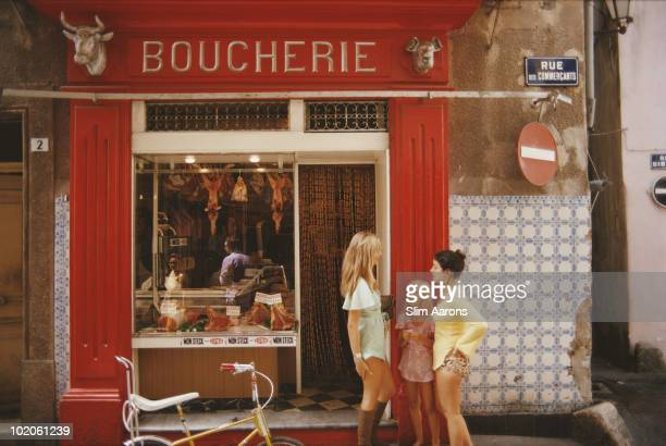 A boucherie or butcher's shop on Rue des Commercants in SaintTropez on the French Riviera August 1971