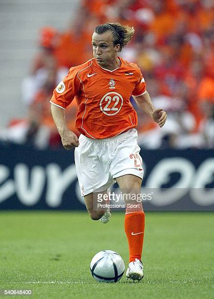 Boudewijn Zenden of Holland in action during the UEFA Euro 2004 Group D match between Germany and Holland at the Drago Stadium on June 15 2004 in...