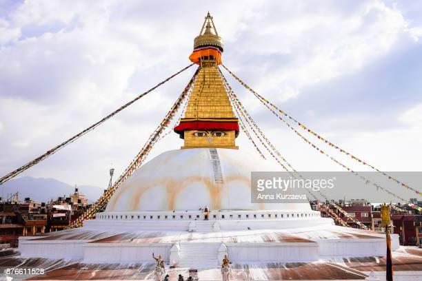 boudhanath iconic buddhist stupa in kathmandu, nepal - カトマンズ ストックフォトと画像
