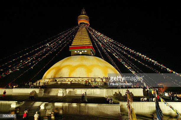 Boudhanath, one of the world's largest stupas, is shown illuminated on the occasion of the 2547th Buddha Jayanti, or Buddha's birthday, May 16, 2003...
