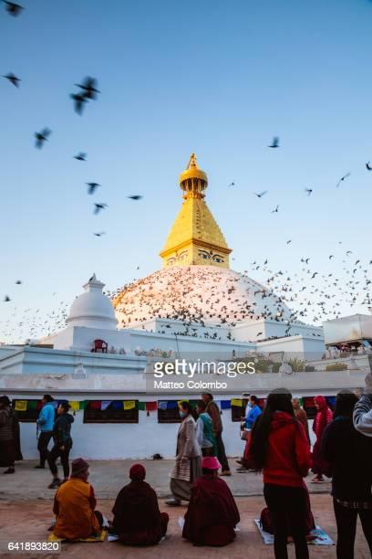 Boudhanath stupa at sunrise, Kathmandu, Nepal