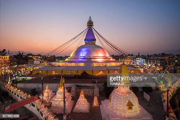 boudhanath stupa celebration after reconstruction in 2016 - カトマンズ ストックフォトと画像