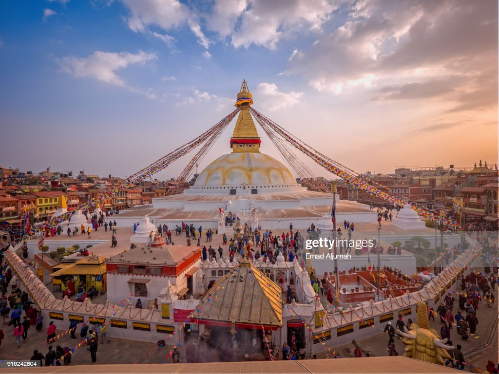 Boudhanath Stupa, Kathmandu, Nepal - February 27, 2017 : Stock Photo