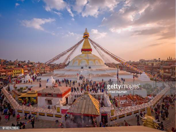 boudhanath stupa, kathmandu, nepal - february 27, 2017 - nepal stock pictures, royalty-free photos & images