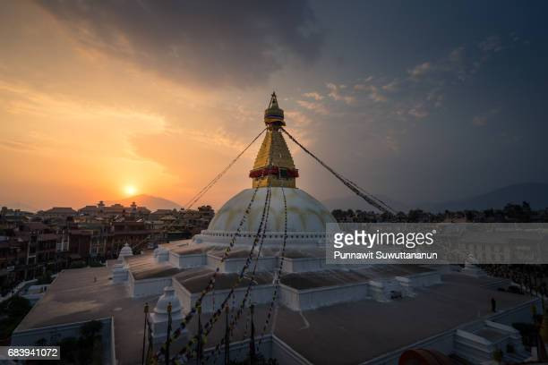 Boudhanath stupa, landmark and heritage site of Kathmandu city at sunset, Kathmandu, Nepal
