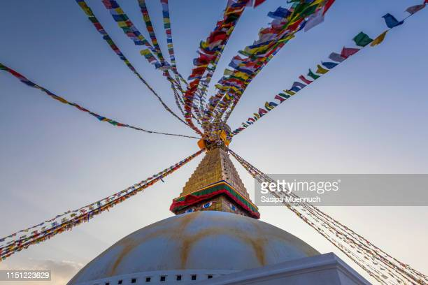 boudhanath stupa - nepali flag stock pictures, royalty-free photos & images
