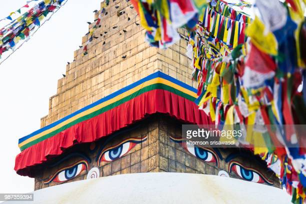 boudhanath stupa - 仏陀の目 ストックフォトと画像