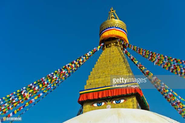 Boudhanath Stupa with Buddha eyes, Kathmandu, Nepal.