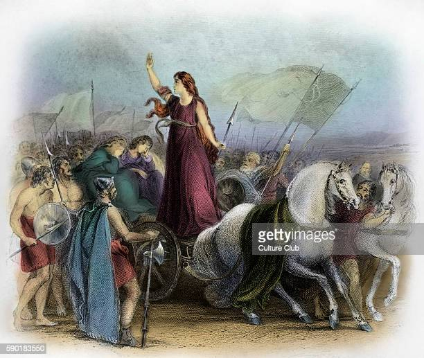 Boudica or Boadicea Queen of the British Iceni tribe a Celtic tribe who led an uprising against the occupying forces of the Roman Empire Caption...
