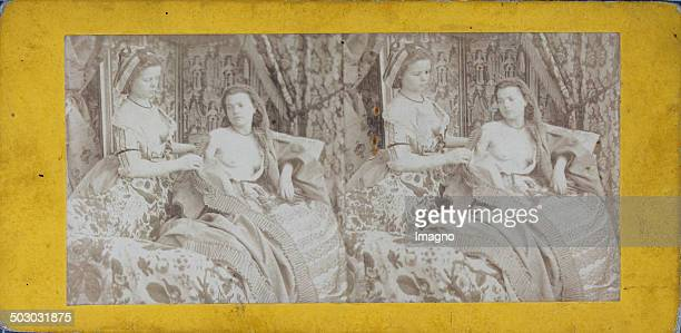 Boudoirscene . About 1880. Stereophotograph.