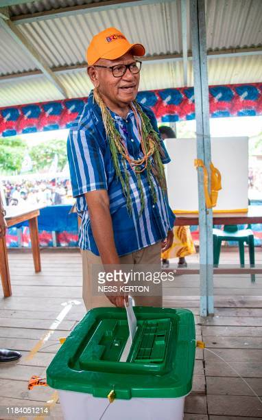 Bougainville regional president John Momis casts his ballot in an historical independence vote in Buka on November 23 2019 Voters in the Pacific...