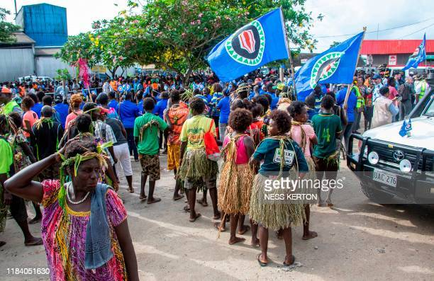 Bougainville residents gather at a polling station in an historical independence vote in Buka on November 23 2019 Voters in the Pacific island chain...