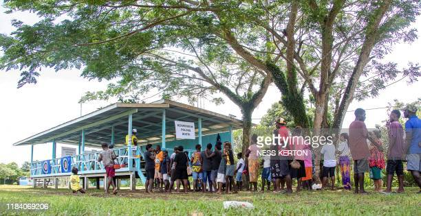 Bougainville residents queue to vote at a polling station in an historical independence vote in Buka on November 23 2019 Voters in the Pacific island...