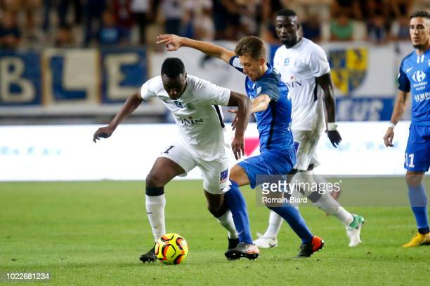 Boukari Abdoul Razak of Chateauroux and Benet Jessy of Grenoble during Ligue 2 match between Grenoble and Chateauroux on August 24 2018 in Grenoble...